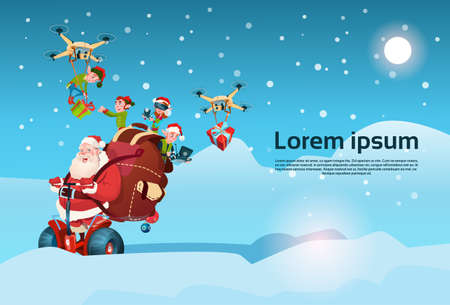 Santa Claus With Sack Ride Electric Segway Scooter, Elf Flying On Drone Present Delivery Christmas Holiday New Year Flat Illustration