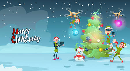 Green elf group decoration christmas tree with drone wear virtual green elf group decoration christmas tree with drone wear virtual reality glasses new year greeting card m4hsunfo Image collections