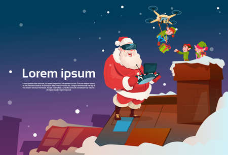 virtual assistant: Santa Claus Wear Virtual Reality Glasses Elfs On Roof, Drone Delivery Present, New Year Christmas Holiday Flat Vector Illustration