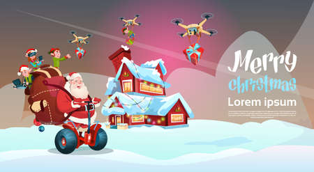 De Kerstman Met Zak Ride elektrische Segway Scooter, Elf Flying On Drone Present Delivery kerstvakantie Nieuwjaar Banner Flat Vector Illustration