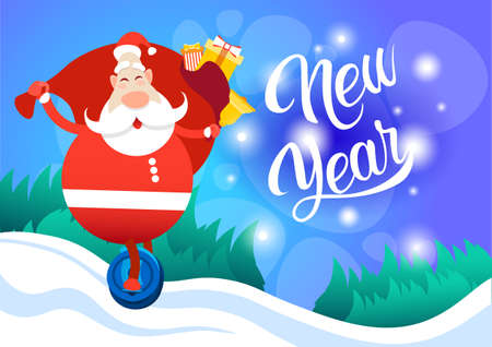 Santa Claus With Big Present Sack Ride Electric Mono Wheel Christmas Holiday Happy New Year Greeting Card Flat Vector Illustration Illustration