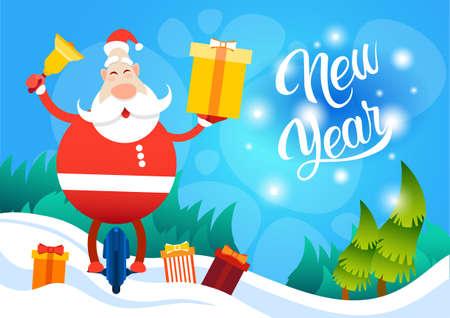 Santa Claus Hold Present Box Ride Electric Mono Wheel Christmas Holiday Happy New Year Greeting Card Flat Vector Illustration