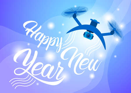 Drone Delivery Present, New Year Merry Christmas Holiday Banner Flat Vector Illustration