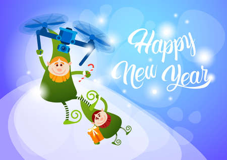 Green Elf Flying On Drone Present Delivery, Happy New Year Merry Christmas Holiday Banner Flat Vector Illustration