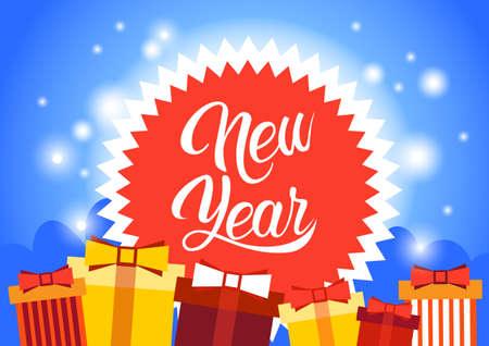 Bonne année décoration carte de voeux bannière célébration plate Vector Illustration Vecteurs