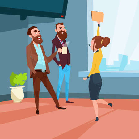 Business People Group Meeting Businesspeople Talking Discussing Communication Flat Vector Illustration