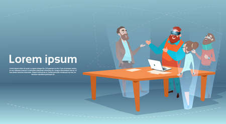 Business Man Wear Digital Glasses Visual Reality Businesspeople Group Meeting Flat Vector Illustration