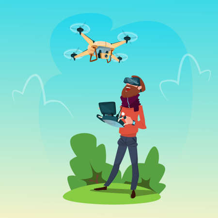Man Wear Virtual Reality Digital Glasses Headset Drone Flying Outdoors Flat Vector Illustration