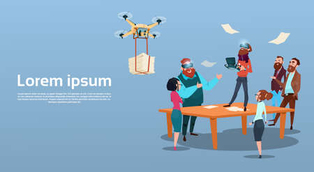 Business Man Wear Digital Glasses Visual Reality Businesspeople Group Meeting Drone Flying Quadrocopter Flat Vector Illustration