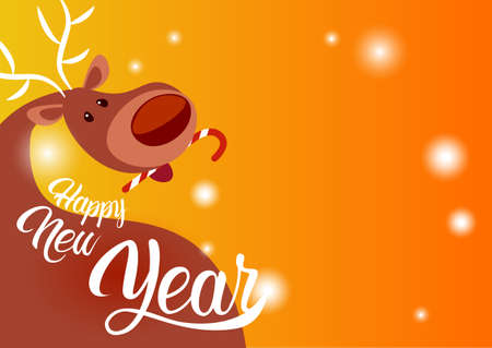 Merry Christmas Happy New Year Greeting Card Reindeer Santa Helper Holiday Banner Copy Space Flat Vector Illustration