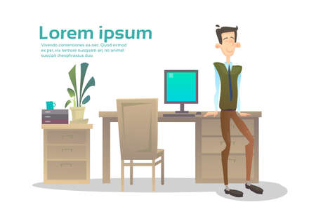 manager office: Business Man Interior Workplace, Businessman Manager Office Worker Flat Vector Illustration