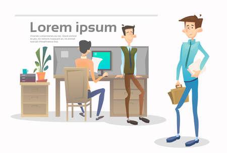 office team: Business People Group Team Meeting Office Interior Teamwork Collaboration Flat Vector Illustration