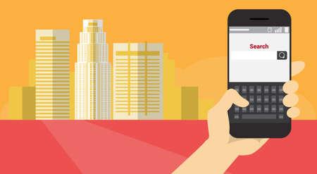 手ホールド携帯スマート フォン アプリケーション オンライン Web 検索バナー フラット ベクトル図