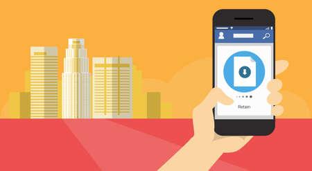Hand Hold Cell Smart Phone Application Online Retain Download File Banner Flat Vector Illustration Ilustração Vetorial