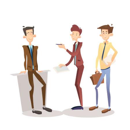 formal signature: Business Man Manager Set, Businessman Full Length Cartoon Character Flat Vector Illustration