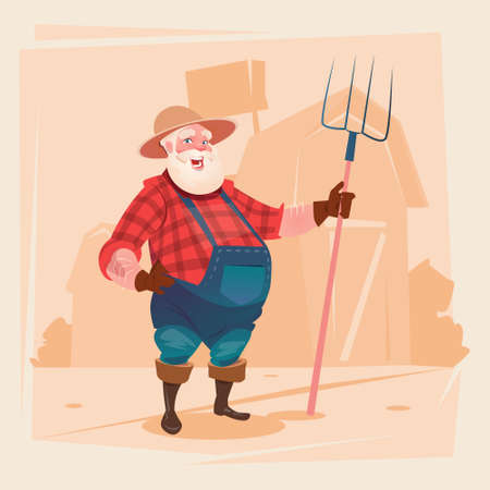 Farmer Working On Farm Hold Pitchfork Hay Harvest Flat Vector Illustration