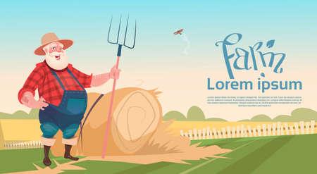 hay bales: Farmer Working On Farm Hold Pitchfork Hay Harvest Flat Vector Illustration