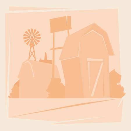 tillage: Silueta de granja con la Casa, Tierras de cultivo Campo paisaje ilustración vectorial Flat