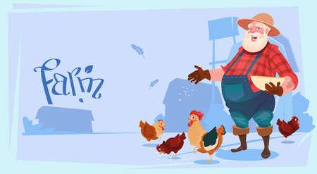 Farmer Feed Chicken Breeding Hen For Food Farm Flat Vector Illustration Illustration