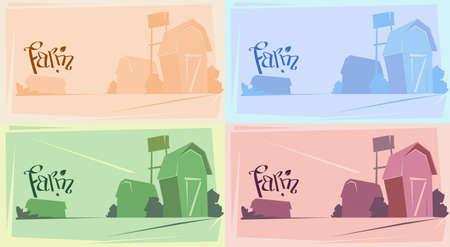 tillage: Silhouette Farm With House, Farmland Countryside Landscape Flat Vector Illustration Illustration
