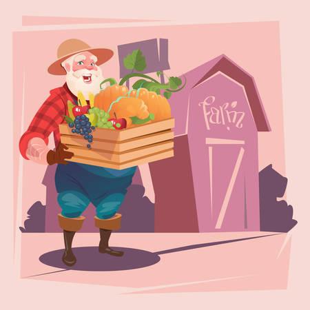 countryman: Farmer Hold Box With Vegetables Farmland Background Flat Vector Illustration