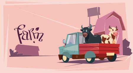 Farmer fokdieren Cow Landbouwgrond achtergrond Flat Vector Illustration