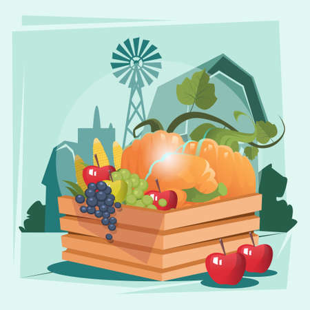 Box With Vegetable Harvest Eco Farmland Background Flat Vector Illustration Illustration