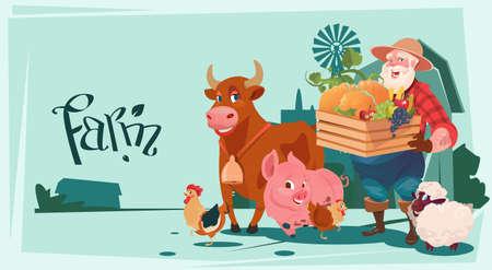 villager: Farmer Hold Box With Vegetables Breeding Animals Farmland Background Flat Vector Illustration
