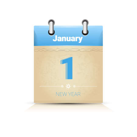 january 1: Calendar Data Page New Year 1 January Flat Vector Illustration