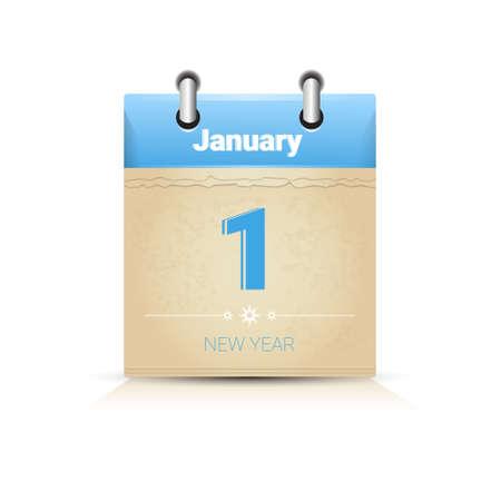 january 1: Calendar Data Page New Year 1 January Flat Vector Illustration