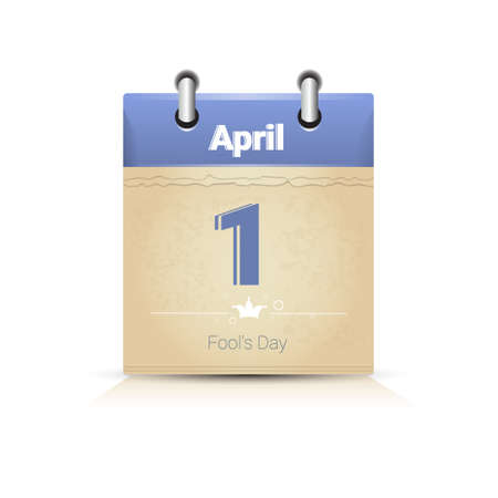 fool: Calendar Data Page Fool Day 1 April Flat Vector Illustration