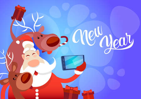 Santa Claus With Reindeer Making Selfie Photo, New Year Christmas Holiday Greeting Card Flat Vector Illustration Illustration