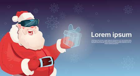 Santa Claus Wear Digital Glasses Hold Virtual Reality Present Box Merry Christmas Happy New Year Flat Vector Illustration