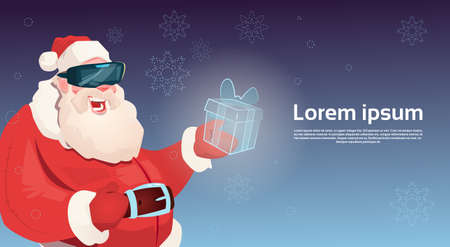 Santa Claus Wear Digital Glasses Hold Virtual Reality Present Box Merry Christmas Happy New Year Flat Vector Illustration