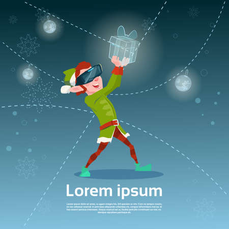 virtual assistant: Santa Helper Green Elf Wear Digital Glasses Hold Virtual Present Merry Christmas Happy New Year Flat Vector Illustration