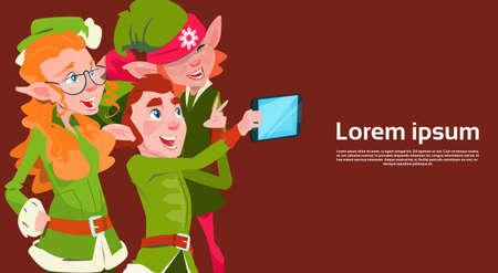 santa helper: Santa Claus Helper Green Elf Group Making Selfie Photo, New Year Christmas Holiday Greeting Card Flat Vector Illustration