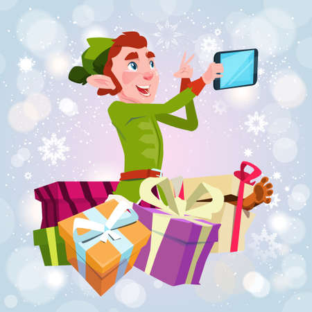 Santa Claus Helper Green Elf Making Selfie Photo, New Year Christmas Holiday Greeting Card Flat Vector Illustration Ilustrace