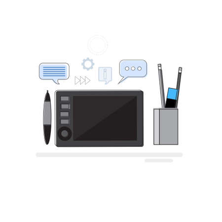 retouch: Design Idea Graphic Designer Drawing Icon Web Banner Thin Line Vector Illustration