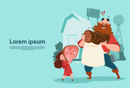villager: Farmer With Daughter Hold Pig Leg Pork Butcher Animal Farm Background Flat Vector Illustration Illustration