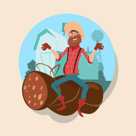 countryman: Farmer Sit On Big Wurst Butcher Animal Farm Flat Vector Illustration