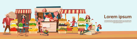 Farmer Family Sell Harvest Products Grocery On Eco Farm Organic Market Seasonal Sale Flat Vector Illustration