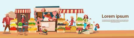 Agriculteur Famille Vente récolte Produits d'épicerie Sur Organic Market Eco Farm Vente saisonnière Appartement Illustration Vecteur