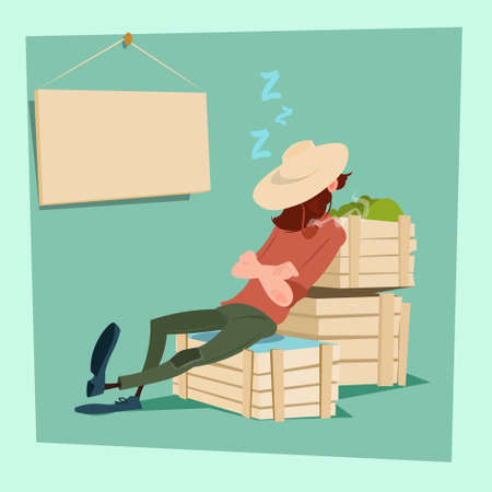 agronomist: Farmer Countryman Sleeping On Vegetable Boxes Flat Vector Illustration