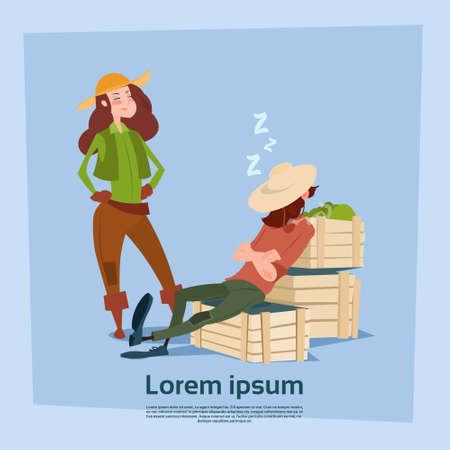 sleepy woman: Country Woman Stand At Farmer Countryman Sleeping On Boxes Flat Vector Illustration Illustration
