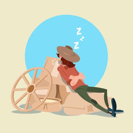 countryman: Farmer Countryman Sleeping On WHeat Sacks Flat Vector Illustration