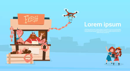 Farmer Sell Pork Meat Products Organic Market Drone Delivery Flat Vector Illustration