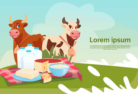 Cows Fresh Milk Dairy Products Eco Farming Banner Flat Vector Illustration