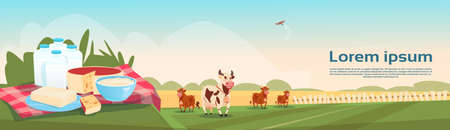 milk products: Cows Fresh Milk Dairy Products Eco Farming Banner Flat Vector Illustration