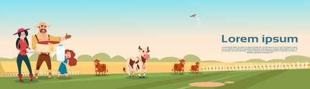 milkman: Farmers Family Cows Fresh Milk Dairy Products Eco Farming Banner Flat Vector Illustration Illustration