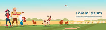 Farmers Family Cows Fresh Milk Dairy Products Eco Farming Banner Flat Vector Illustration Illustration